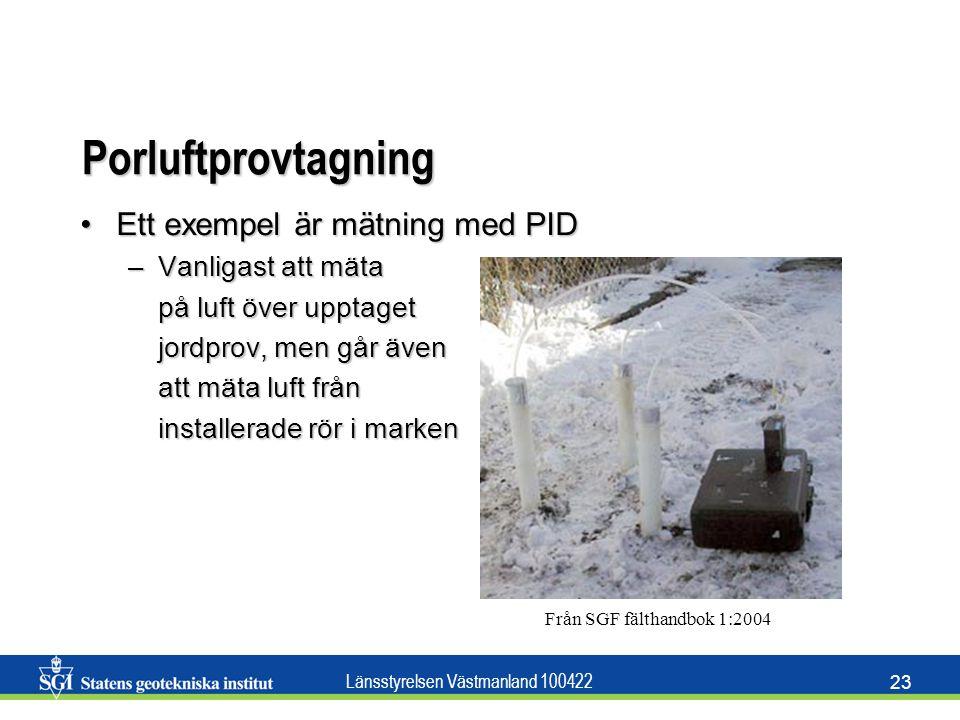 Porluftprovtagning Ett exempel är mätning med PID Vanligast att mäta