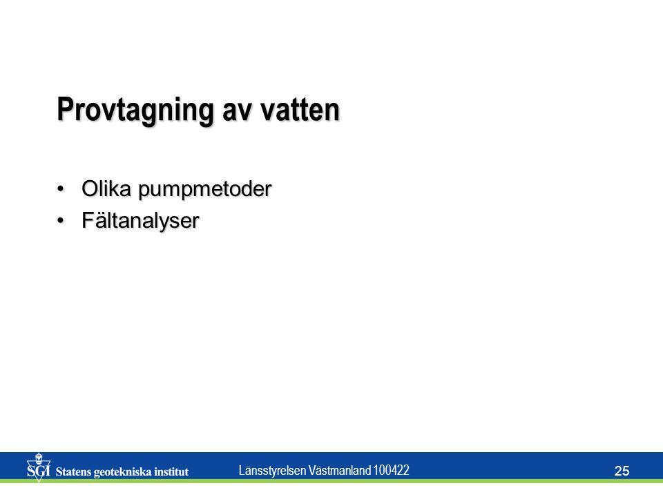 Provtagning av vatten Olika pumpmetoder Fältanalyser
