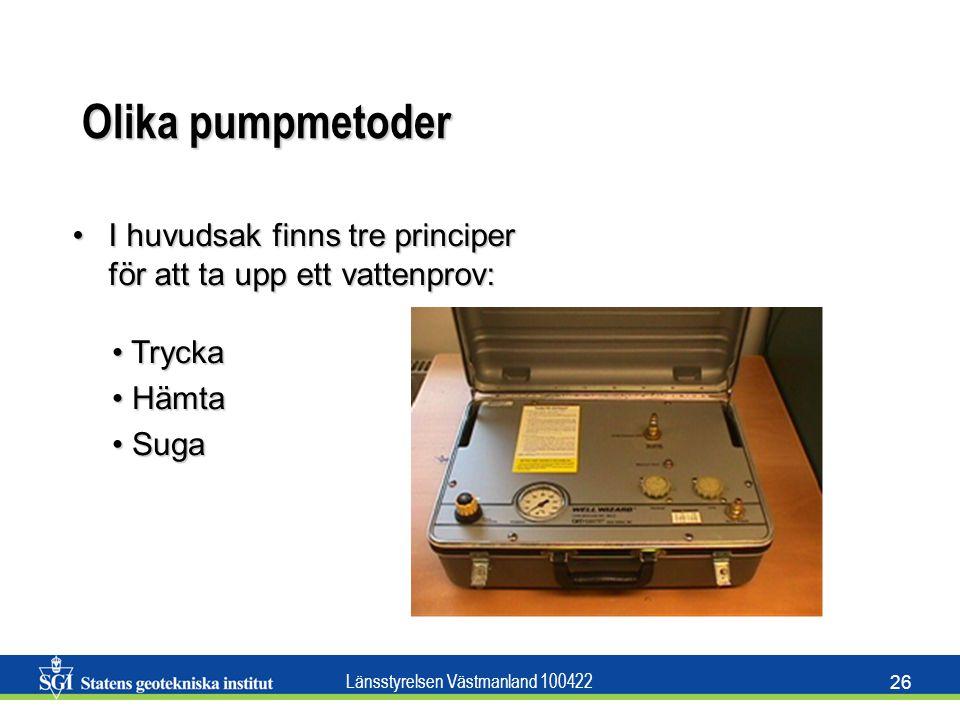 Olika pumpmetoder I huvudsak finns tre principer för att ta upp ett vattenprov: Trycka Hämta Suga
