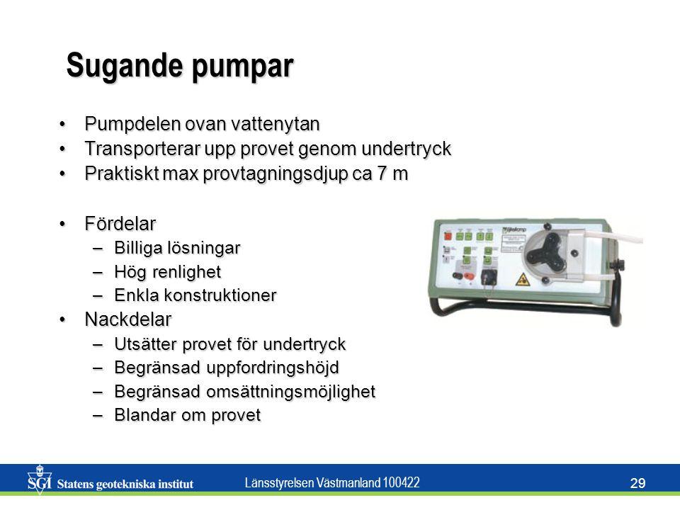 Sugande pumpar Pumpdelen ovan vattenytan