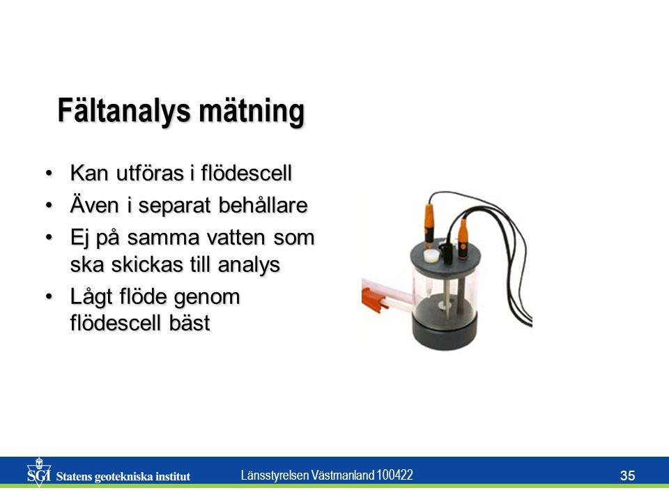 Fältanalys mätning Kan utföras i flödescell Även i separat behållare