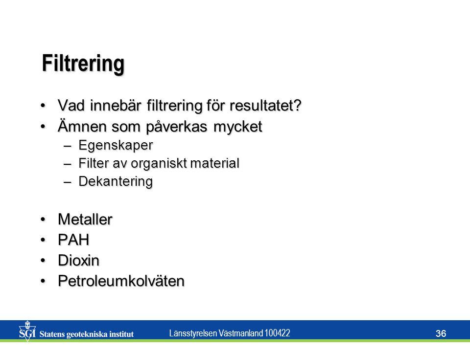 Filtrering Vad innebär filtrering för resultatet