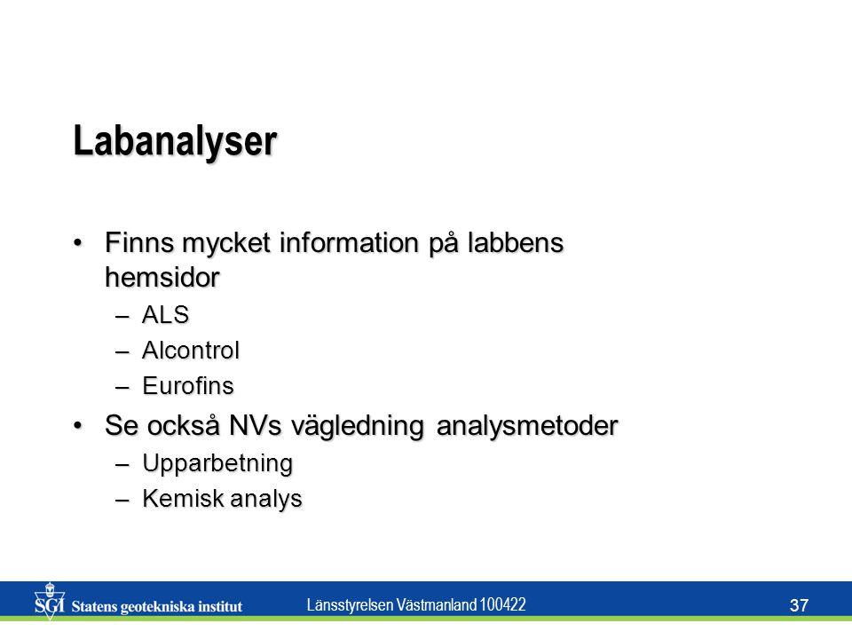 Labanalyser Finns mycket information på labbens hemsidor