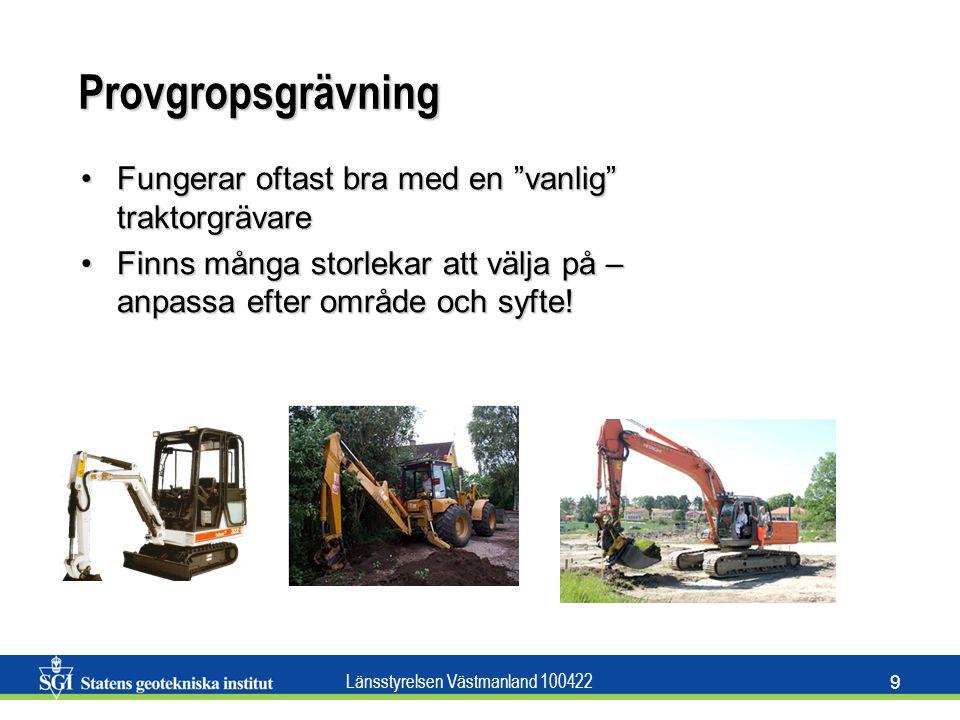 Provgropsgrävning Fungerar oftast bra med en vanlig traktorgrävare
