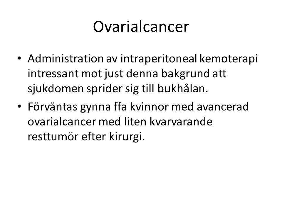 Ovarialcancer Administration av intraperitoneal kemoterapi intressant mot just denna bakgrund att sjukdomen sprider sig till bukhålan.