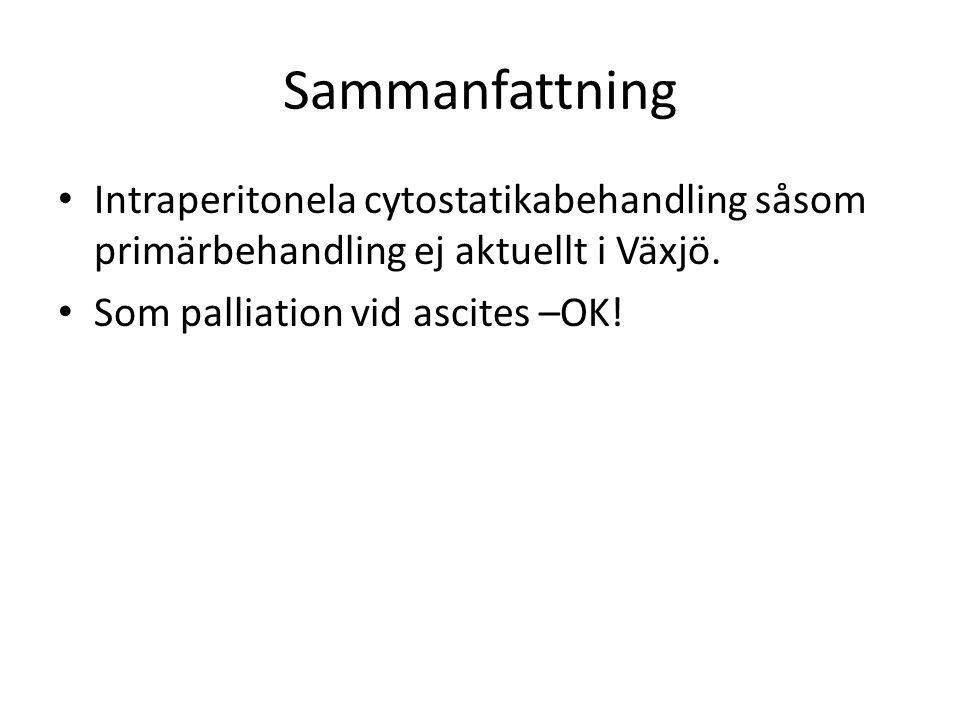 Sammanfattning Intraperitonela cytostatikabehandling såsom primärbehandling ej aktuellt i Växjö.