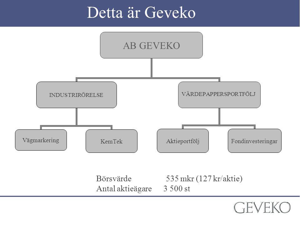 Detta är Geveko Börsvärde 535 mkr (127 kr/aktie)