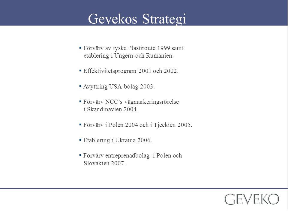 Gevekos Strategi Förvärv av tyska Plastiroute 1999 samt