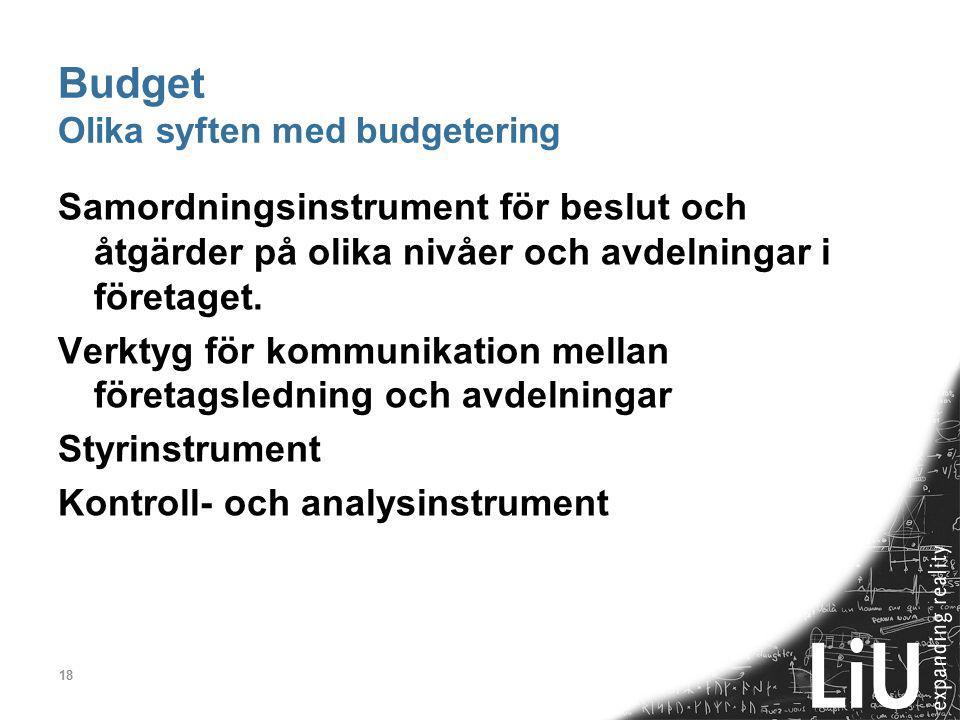 Budget Olika syften med budgetering