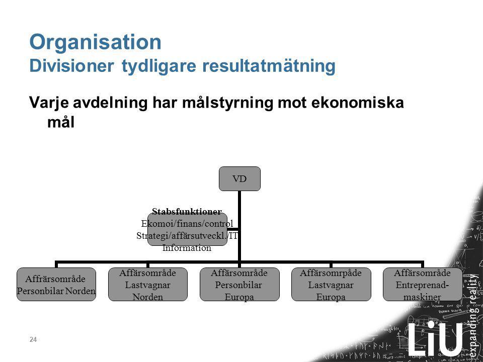 Organisation Divisioner tydligare resultatmätning