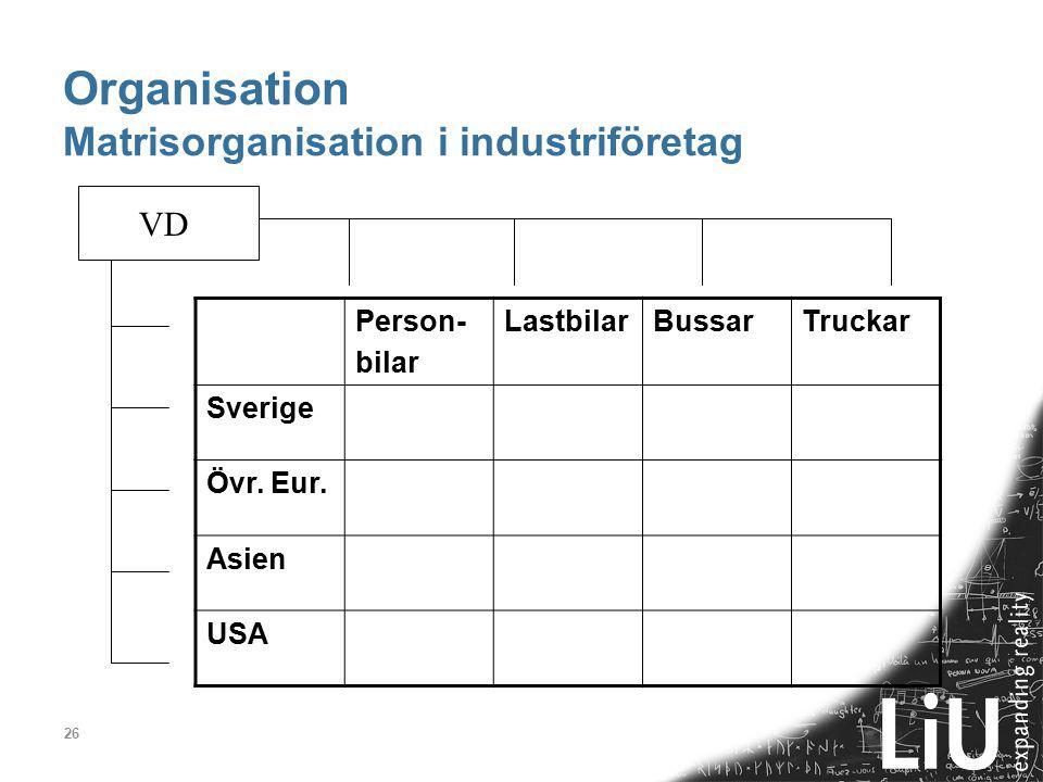 Organisation Matrisorganisation i industriföretag