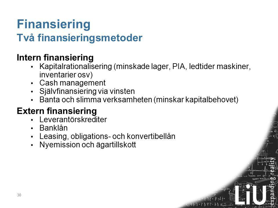 Finansiering Två finansieringsmetoder