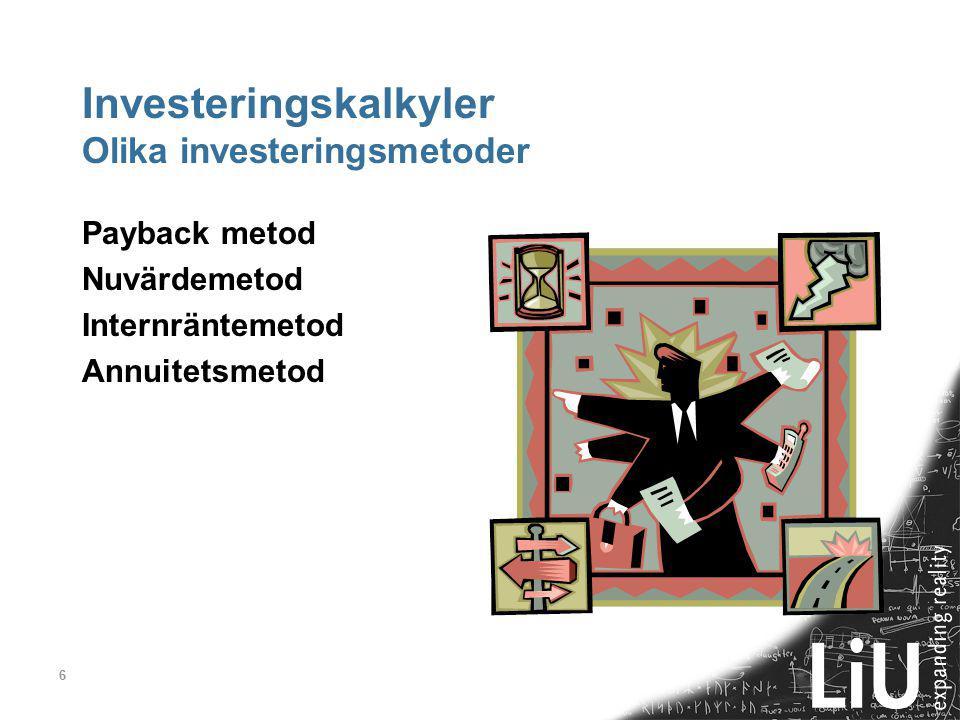Investeringskalkyler Olika investeringsmetoder