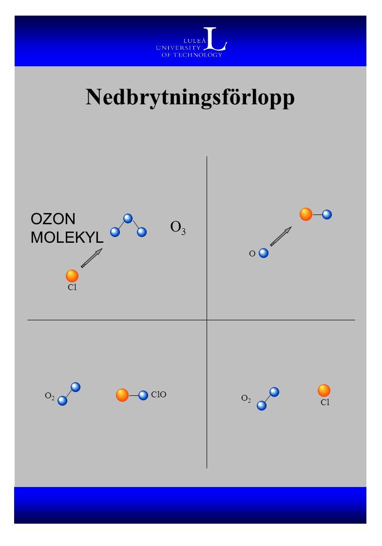 Nedbrytningsförlopp OZON MOLEKYL O3 O Cl O2 ClO O2 Cl