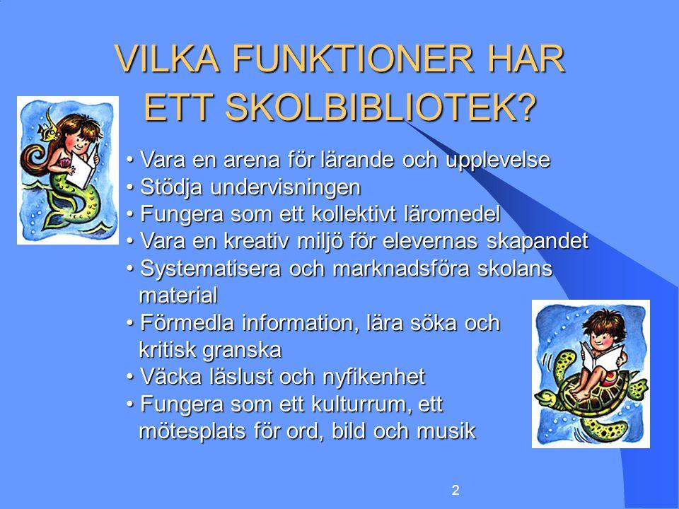 VILKA FUNKTIONER HAR ETT SKOLBIBLIOTEK