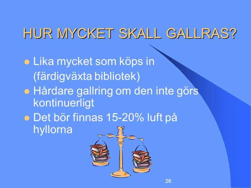 HUR MYCKET SKALL GALLRAS