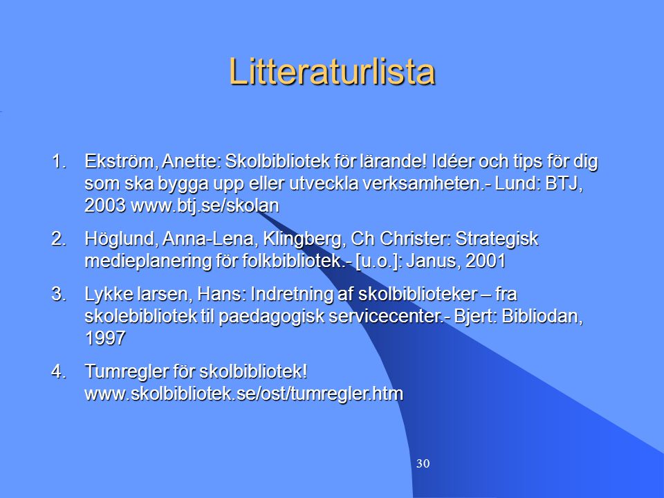 Litteraturlista