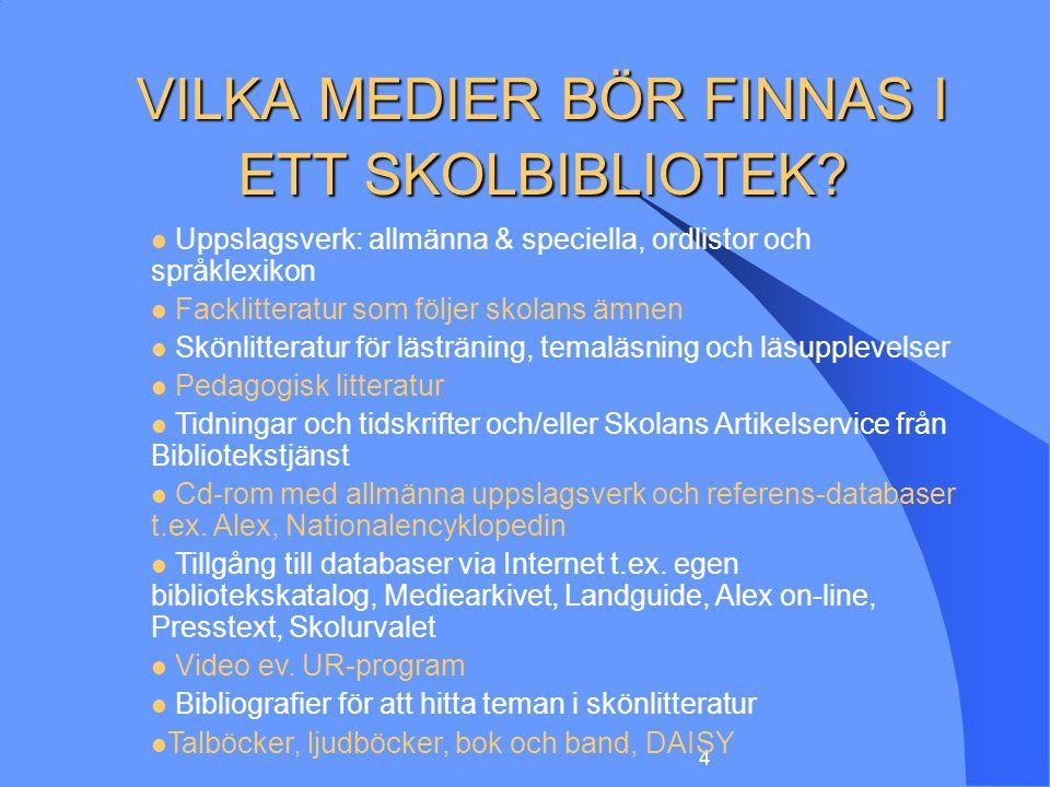 VILKA MEDIER BÖR FINNAS I ETT SKOLBIBLIOTEK