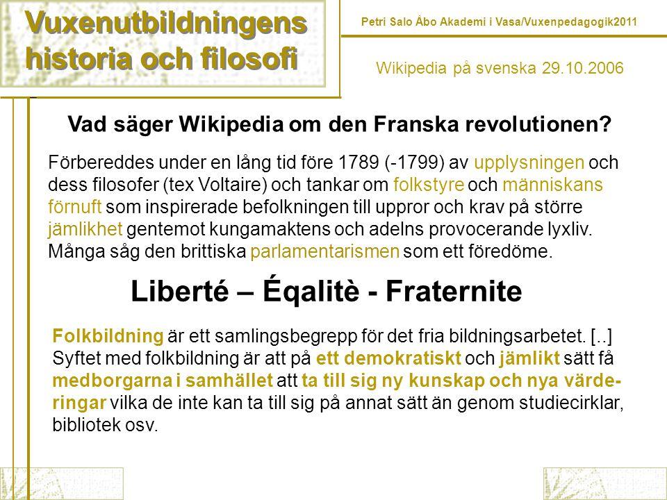 Liberté – Éqalitè - Fraternite
