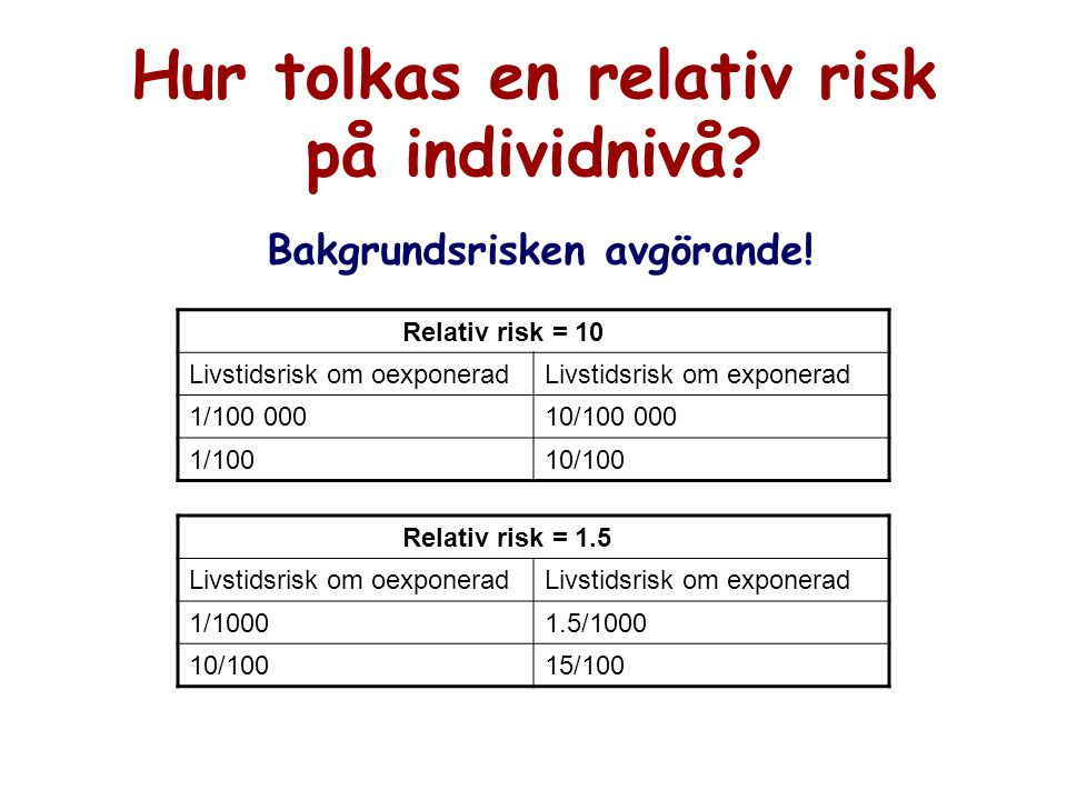 Hur tolkas en relativ risk på individnivå