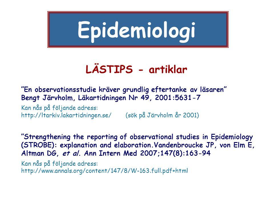 Epidemiologi LÄSTIPS - artiklar
