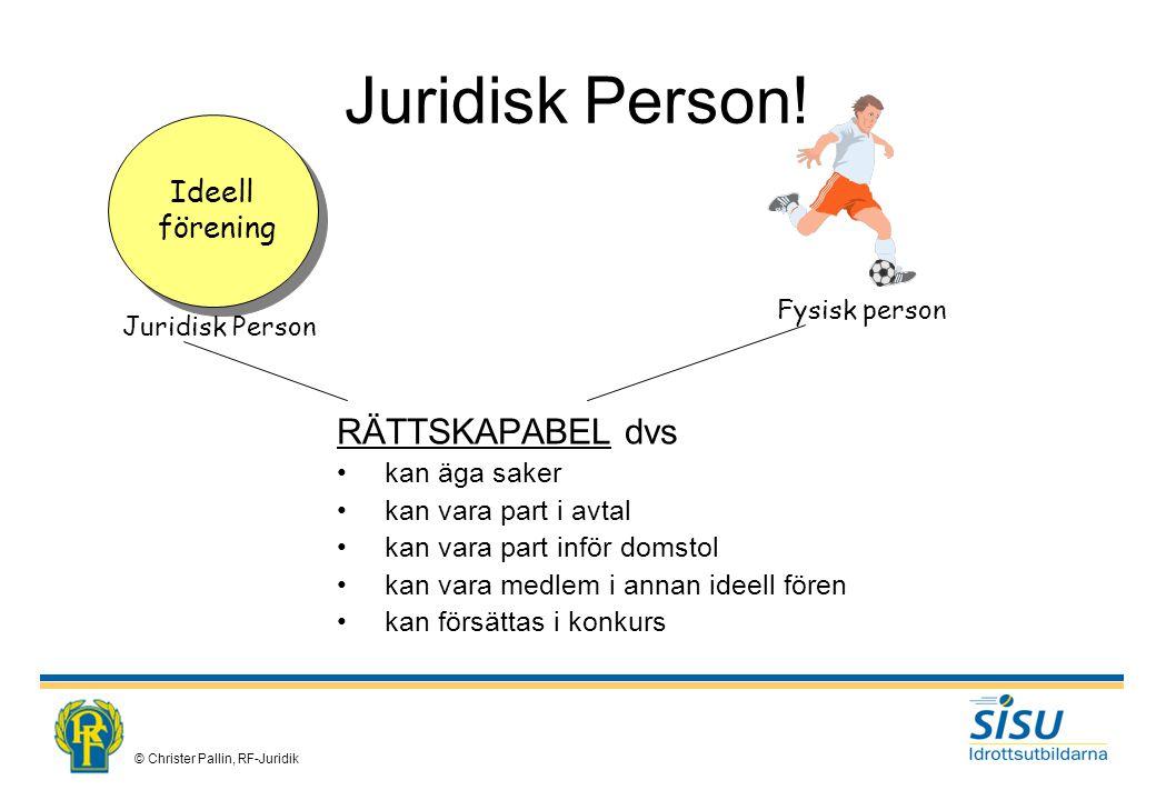 Juridisk Person! RÄTTSKAPABEL dvs Ideell förening kan äga saker