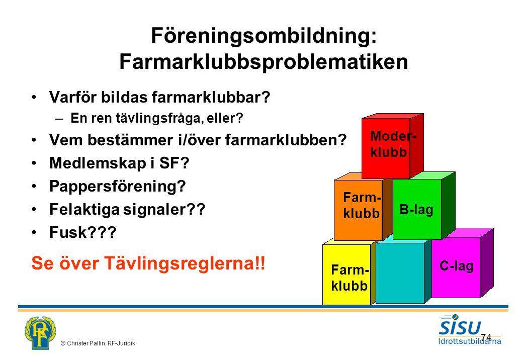 Föreningsombildning: Farmarklubbsproblematiken