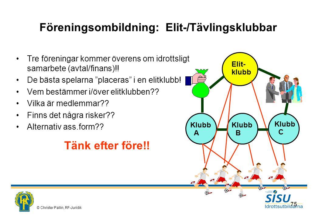Föreningsombildning: Elit-/Tävlingsklubbar