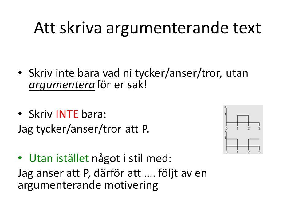 Att skriva argumenterande text