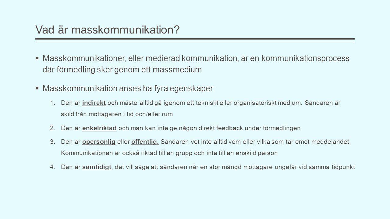 Vad är masskommunikation