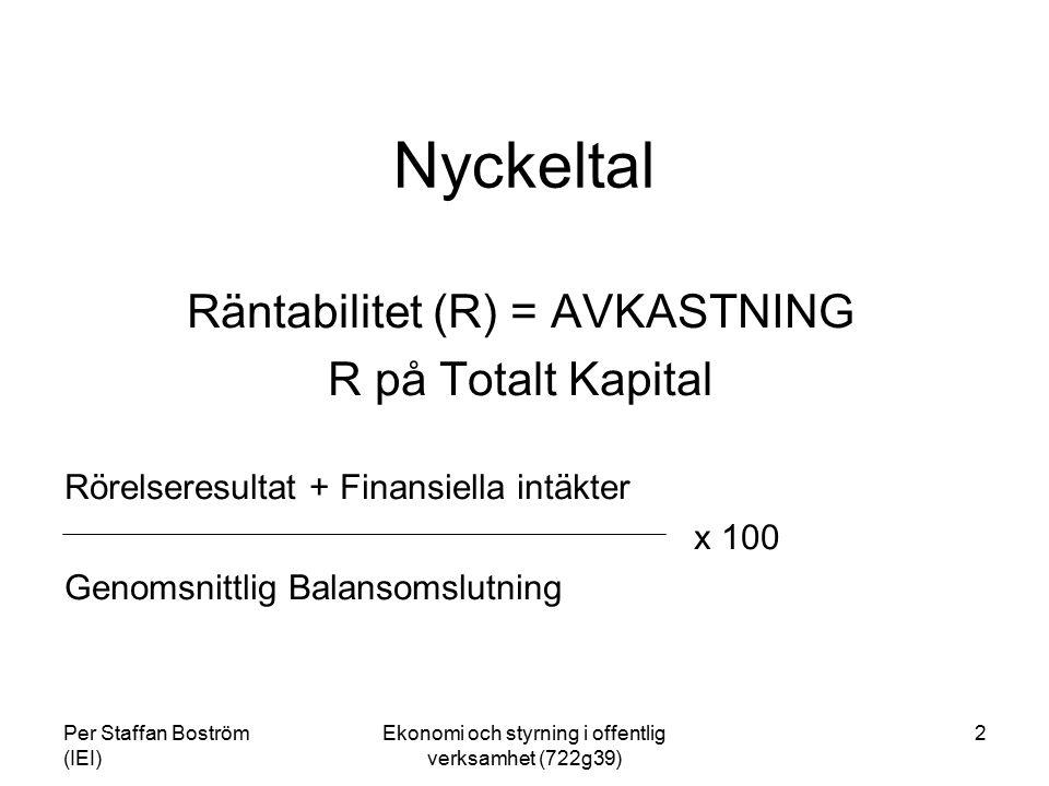 Nyckeltal Räntabilitet (R) = AVKASTNING R på Totalt Kapital