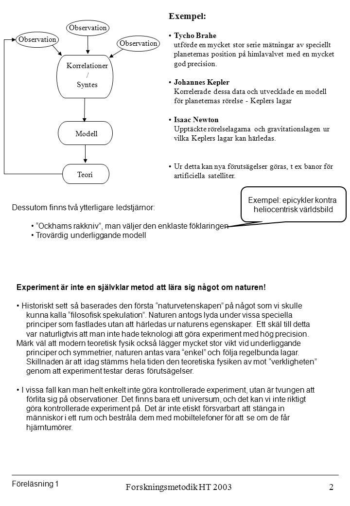 Exempel: Forskningsmetodik HT 2003