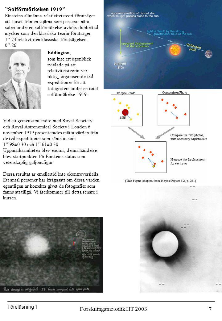 Solförmörkelsen 1919 Forskningsmetodik HT 2003