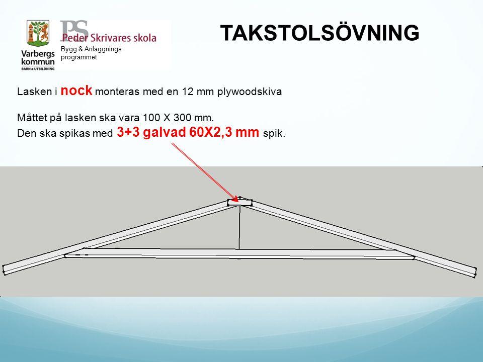 TAKSTOLSÖVNING Lasken i nock monteras med en 12 mm plywoodskiva