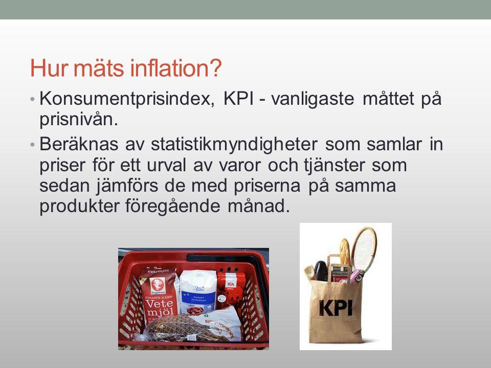 Hur mäts inflation Konsumentprisindex, KPI - vanligaste måttet på prisnivån.
