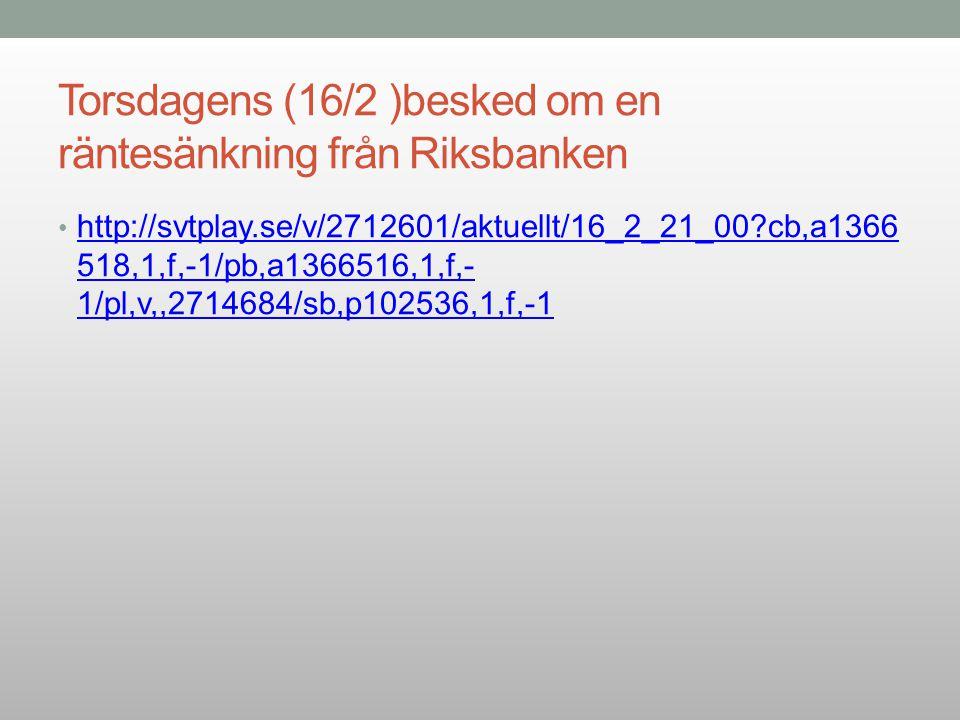 Torsdagens (16/2 )besked om en räntesänkning från Riksbanken
