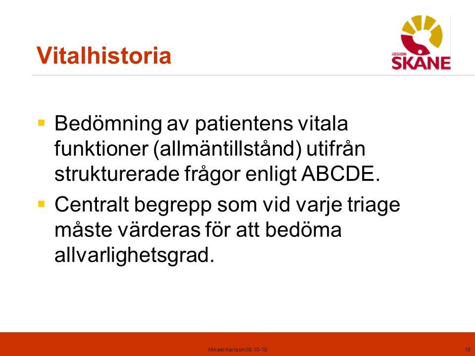 Vitalhistoria Bedömning av patientens vitala funktioner (allmäntillstånd) utifrån strukturerade frågor enligt ABCDE.