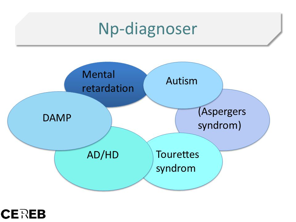 Np-diagnoser Mental retardation Autism (Aspergers syndrom) DAMP AD/HD