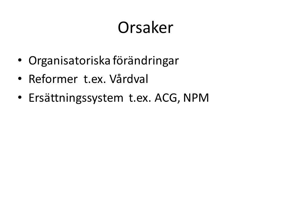 Orsaker Organisatoriska förändringar Reformer t.ex. Vårdval