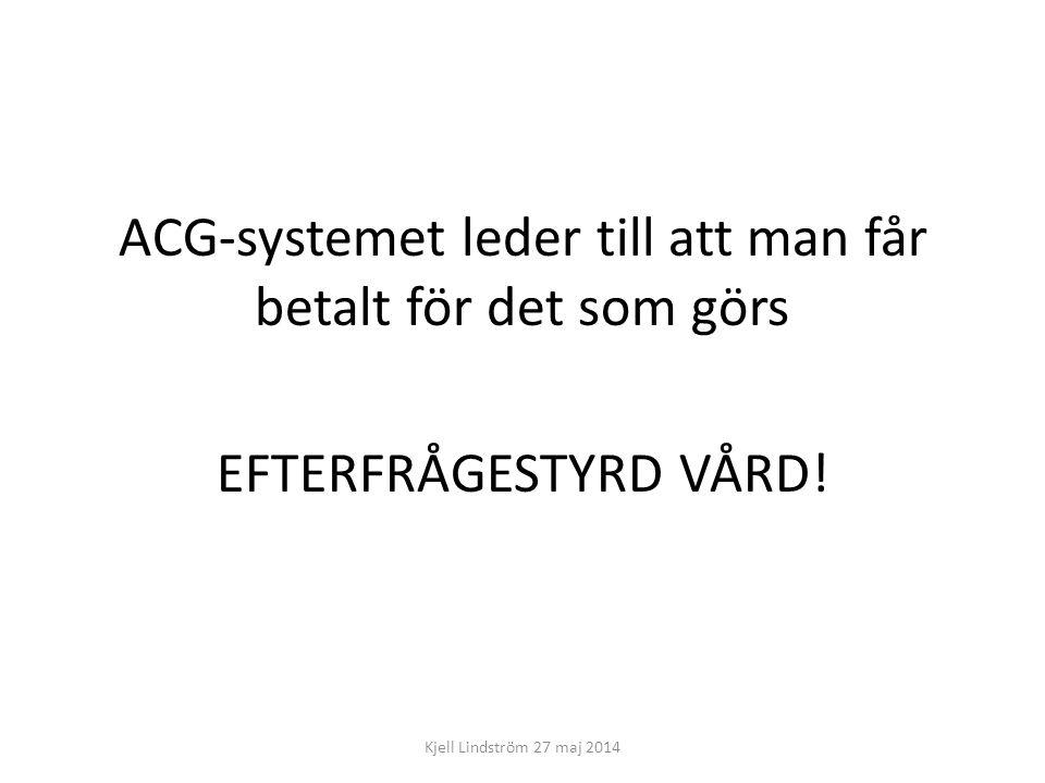 ACG-systemet leder till att man får betalt för det som görs EFTERFRÅGESTYRD VÅRD!