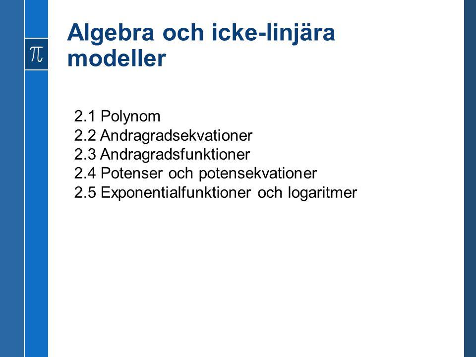 Algebra och icke-linjära modeller