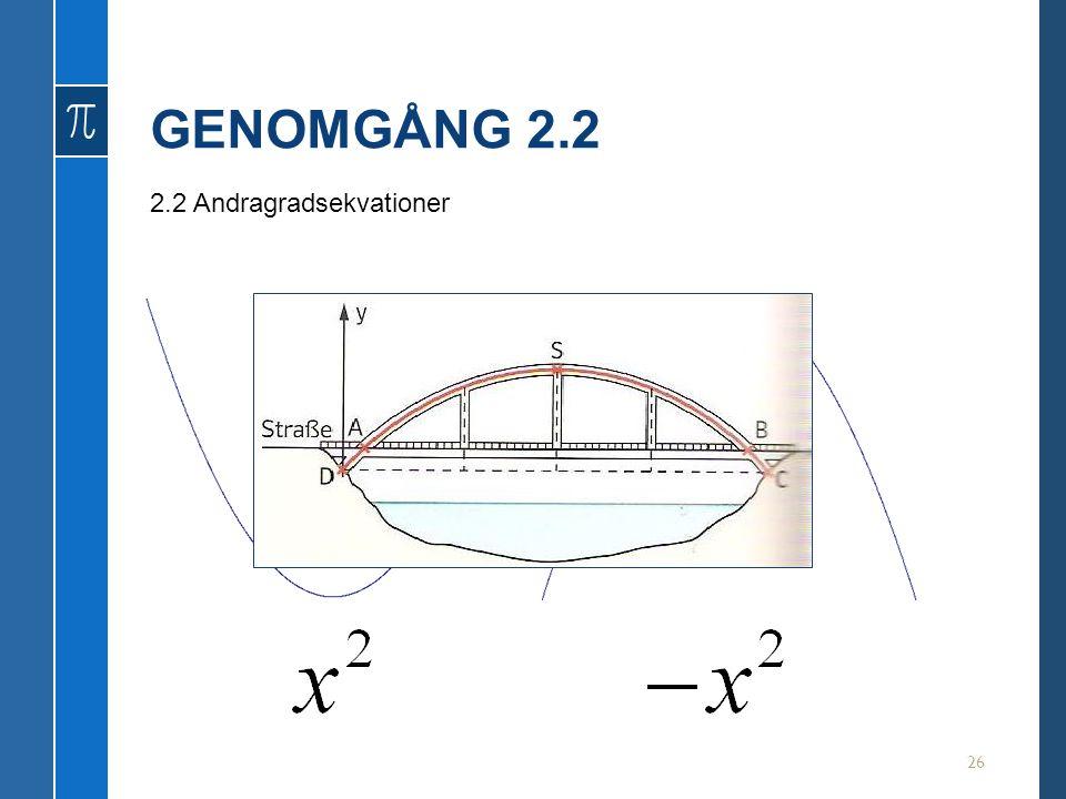GENOMGÅNG 2.2 2.2 Andragradsekvationer