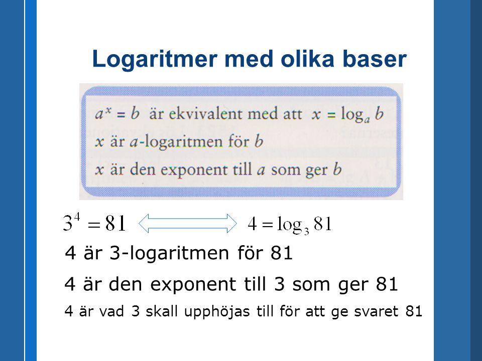 Logaritmer med olika baser