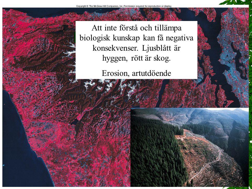 Att inte förstå och tillämpa biologisk kunskap kan få negativa konsekvenser. Ljusblått är hyggen, rött är skog.