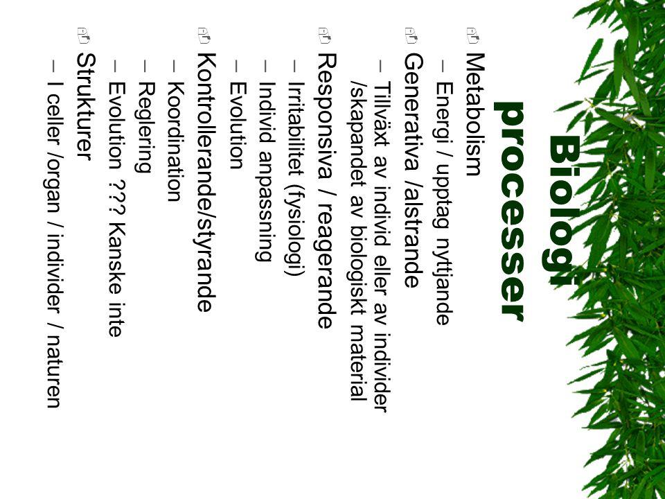 Biologi processer Strukturer Kontrollerande/styrande