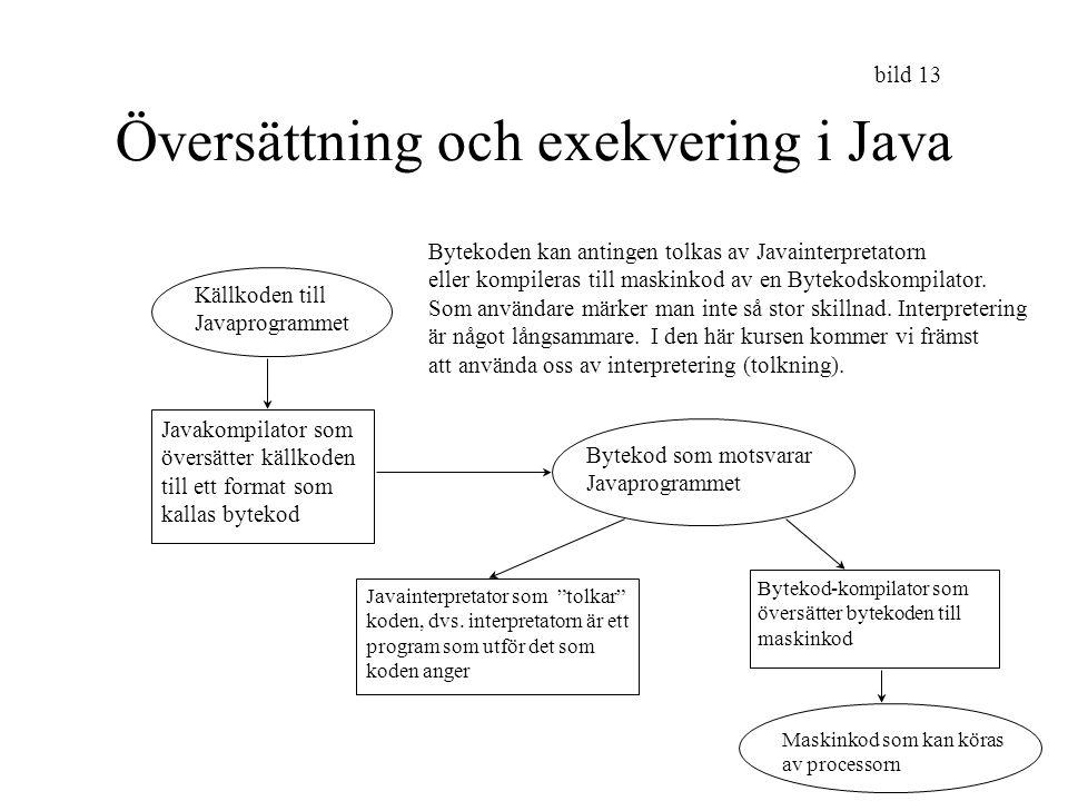 Översättning och exekvering i Java