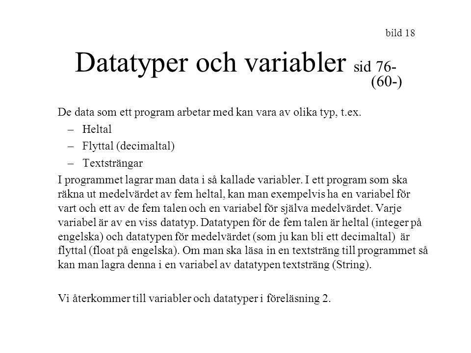 Datatyper och variabler sid 76-