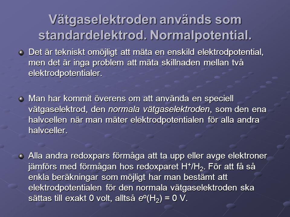 Vätgaselektroden används som standardelektrod. Normalpotential.
