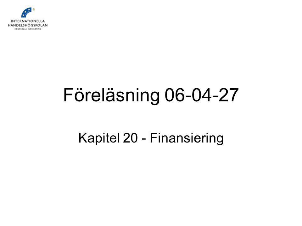 Kapitel 20 - Finansiering