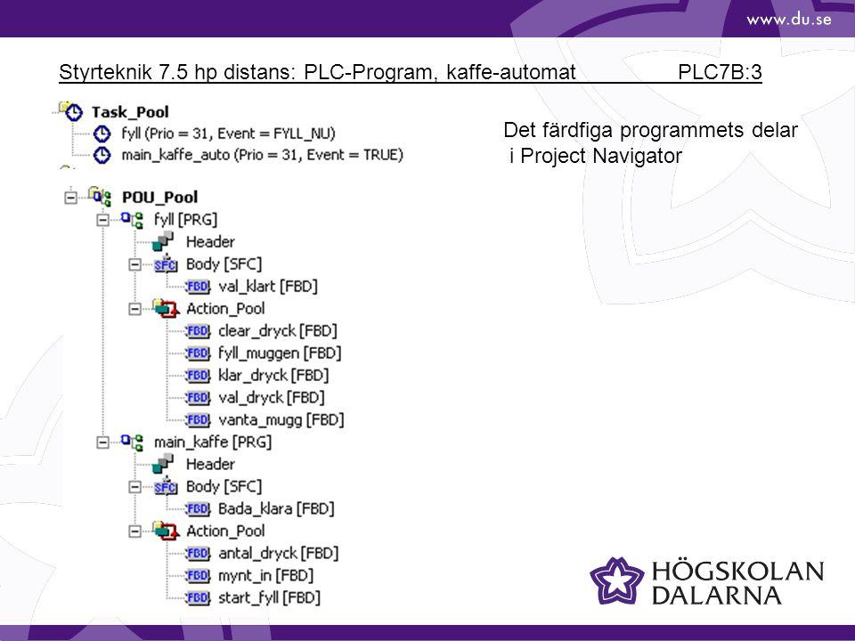 Styrteknik 7.5 hp distans: PLC-Program, kaffe-automat PLC7B:3